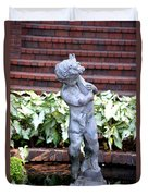 Cherub At The Pond Duvet Cover