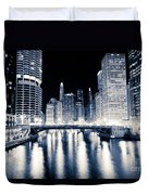 Chicago At Night At Dearborn Street Bridge Duvet Cover
