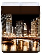 Chicago At Night At State Street Bridge Duvet Cover