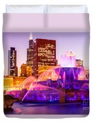 Chicago At Night With Buckingham Fountain Duvet Cover