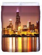 Chicago At Night With Willis-sears Tower Duvet Cover by Paul Velgos