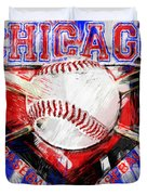 Chicago Baseball Abstract Duvet Cover by David G Paul