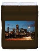 Chicago Business District At Dusk Duvet Cover