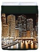 Chicago City Skyline At Night Duvet Cover