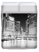 Chicago Cityscape At Night At Dusable Bridge Duvet Cover