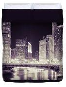 Chicago Cityscape At State Street Bridge Duvet Cover
