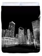 Chicago Downtown At Night  Duvet Cover
