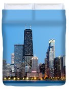 Chicago Downtown At Night With John Hancock Building Duvet Cover