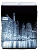 Chicago Downtown Skyline At Night Duvet Cover