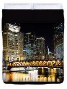 Chicago Dusable Michigan Avenue Bridge At Night Duvet Cover