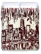 Chicago Great Fire Of 1871 Serigraph Of Skyline Buildings Sears Tower Lake Michigan John Hancock  Duvet Cover