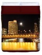 Chicago Michigan Avenue Dusable Bridge At Night Duvet Cover