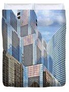 Chicago - One South Wacker And Hyatt Center Duvet Cover by Christine Till