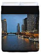 Chicago River At Twilight Duvet Cover