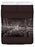 Chicago River East Bw Duvet Cover by Steve Gadomski