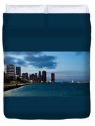 Chicago Skyline And Navy Pier At Dusk Duvet Cover