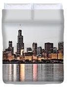 Chicago Skyline At Dusk Photo Duvet Cover