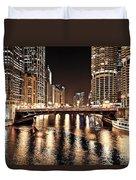 Chicago Skyline At State Street Bridge Duvet Cover