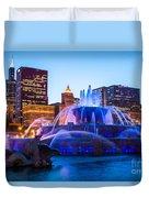 Chicago Skyline Buckingham Fountain High Resolution Duvet Cover