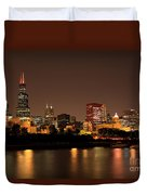 Chicago Skyline Downtown City Buildings At Night Duvet Cover by Paul Velgos