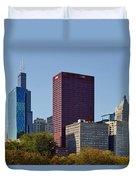 Chicago Skyline From Millenium Park Duvet Cover