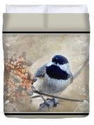 Chickadee Breakfast With Decorations Duvet Cover