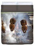 Chickens Roasting On Open Pit Fire Duvet Cover