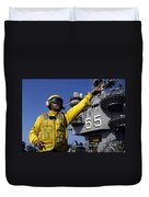 Chief Aviation Boatswains Mate Directs Duvet Cover by Stocktrek Images