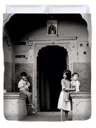 Childhood In Jaipur  Duvet Cover