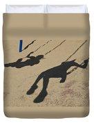 Children Cast Body Shadows In The Sand Duvet Cover