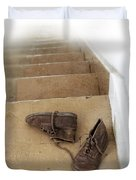 Child's Shoes By Stairs Duvet Cover