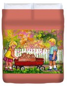 Chilrens Art-boy And Girl With Wagon And Puppies Duvet Cover