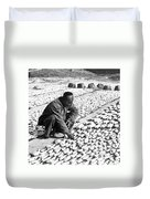 Chinese Man Drying Fish On The Shore - C 1902 Duvet Cover