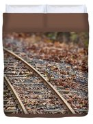 Chipmunk On The Railroad Track Duvet Cover