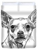 Chiwawa-portrait-drawing Duvet Cover