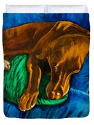 Chocolate Lab On Couch Duvet Cover