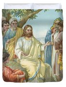 Christ And His Disciples Duvet Cover