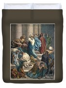 Christ At The Temple Duvet Cover