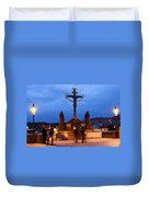 Christ Crucifixion Sculpture Duvet Cover