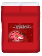 Christmas Card - Red And White Poinsettia Duvet Cover