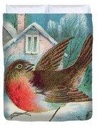 Christmas Card Depicting A Robin  Duvet Cover