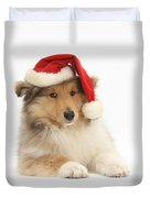 Christmas Collie Pup Duvet Cover