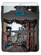 Christmas On Aviles Street Duvet Cover by DigiArt Diaries by Vicky B Fuller