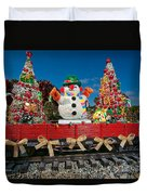Christmas Snowman On Rails Duvet Cover