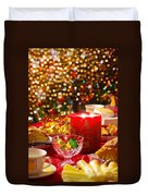 Christmas Table Set Duvet Cover by Carlos Caetano