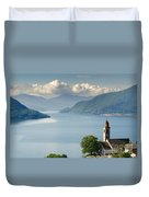 Church Close To An Alpine Lake Duvet Cover