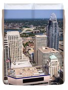 Cincinnati Aerial Skyline Downtown City Buildings Duvet Cover