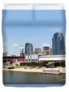 Cincinnati Ohio Skyline And Riverfront Duvet Cover
