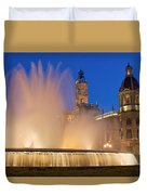 City Hall And Fountain At Dusk Duvet Cover