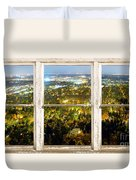 City Lights White Rustic Picture Window Frame Photo Art View Duvet Cover